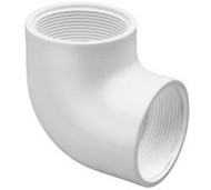"Schedule 40 PVC Elbow 1"" Thread x Thread White"