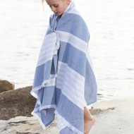 Lulujo Cotton Turkish Towel - Navy & Oatmeal