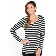 Angel Maternity Striped Long Sleeve Nursing Tshirt