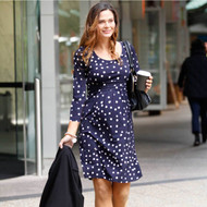 Angel Maternity Long Sleeve Nursing Dress - Navy Spots