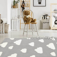 Cute Dreamy Kids Clouds Rug - Grey