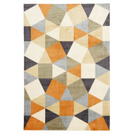 Geo Pixels Modern Rug - Rust Grey Decor