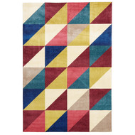 Geo Matrix Modern Rug - Raspberry