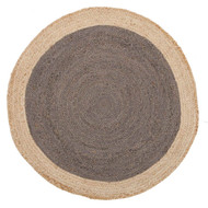 Sunset Round Jute Natural Rug - Charcoal