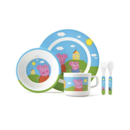 Peppa Pig Toddler 5 Piece Dinner Set - Plate Bowl Cutlery Cup  sc 1 st  Peekaboo Baby & Peppa Pig 5 Piece Dinner Set - Buy Cute Toddler Feeding Online