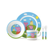 Peppa Pig Toddler 5 Piece Dinner Set -  Plate, Bowl, Cutlery, Cup