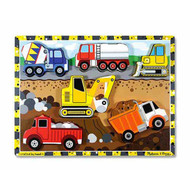 Wooden Chunky Puzzle Toy - Construction Trucks, Digger, Cement Truck