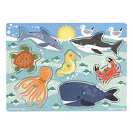 Melissa & Doug Wooden Peg Puzzle - Sea Creatures