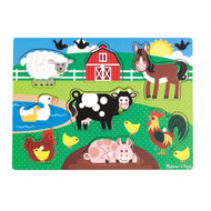 Melissa & Doug Wooden Peg Puzzle - Farm Animals