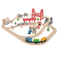 Wooden Double Loop Train Railway Set
