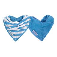 Silly Billyz Organic Cotton Bandana Bibs - 2 Pack - Blue Stripe