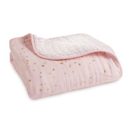 aden + anais cotton muslin baby Dream Blanket - Metallic Primrose Pink