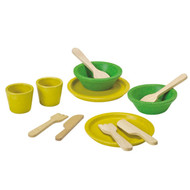 PlanToys Eco Tableware Play Set - wooden pretend toys
