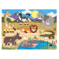 Melissa & Doug Wooden Peg Puzzle - Safari Animals