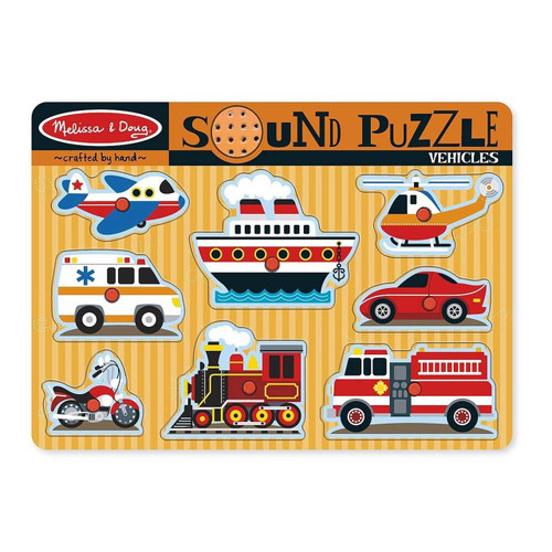 Melissa & Doug Wooden Sound Puzzle - Vehicles