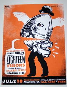 EIGHTEEN VISIONS & SCARY KIDS - CHAIN REACTION - MYSPACE SECRET SHOW POSTER