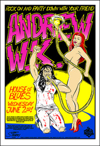 ANDREW W.K.  - HOUSE OF BLUES - ORLANDO - 2004 - TOUR POSTER - STAINBOY REINEL