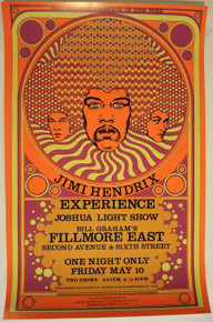 JIMI HENDRIX - FILLMORE EAST - 1968 - BILL GRAHAM POSTER - DAVID BYRD - NEW YORK