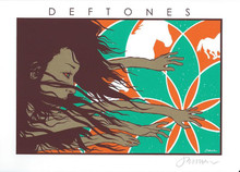 DEFTONES - MINI PRINT -  WHITE - SWERVE CITY - JERMAINE ROGERS - SIGNED