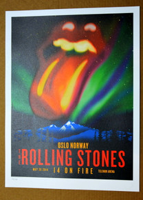 ROLLING STONES - 14 ON FIRE - OSLO - NORWAY - #396/500 - POSTER - JAGGER - RICHARDS