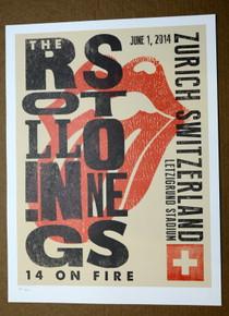 ROLLING STONES - 14 ON FIRE - LETZIGRUND STADIUM - ZURICH - #396/500 - TOUR POSTER