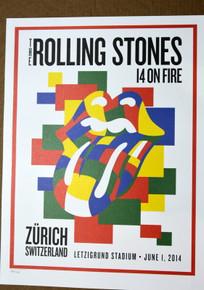 ROLLING STONES - 14 ON FIRE - LETZIGRUND STADIUM - ZURICH - #396/500 - POSTER - KEITH RICHARDS