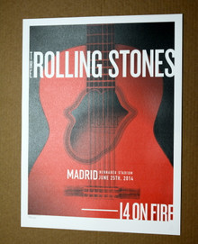 THE ROLLING STONES - 14 ON FIRE -  BERNABEU STADIUM - MADRID - #396/500 -  POSTER