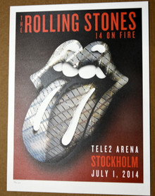 THE ROLLING STONES - 14 ON FIRE - TELE2 ARENA - STOCKHOLM - #396/500 -TOUR POSTER