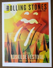 THE ROLLING STONES - 14 ON FIRE - ROSKILDE FESTIVAL - DENMARK - #396/500 - TOUR POSTER