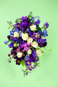 Purple Cascading  Bridesmaid Bouquet