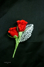Red Rose, Silver Leaf Boutonniere