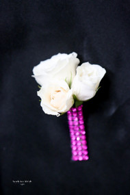 White Rose, Pink Bling Boutonniere