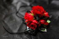 Red Rose Corsage  with Black Accents and Keepsake Bracelet