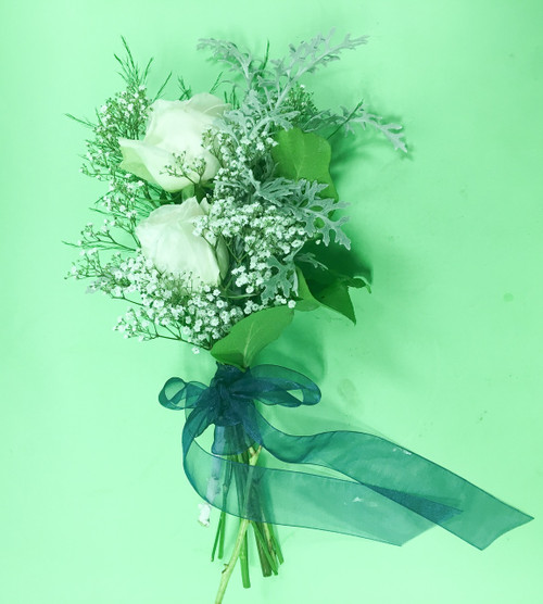 Romantic Bridesmaid Bouquet with White roses and Baby's Breath