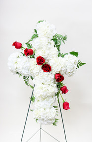Sympathy Spray Design in white Hydrangea and Red Roses with a hint of green filler
