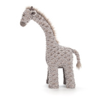 Joey Giraffe is standing tall on his sturdy, scruffly legs! Nuzzly-neutral in two-tone mocha fur, this proud giraffe is a perfect nursery pal. From squidgy horns to silky tail (via that long, long neck!), he's a calming companion for playtime safaris.