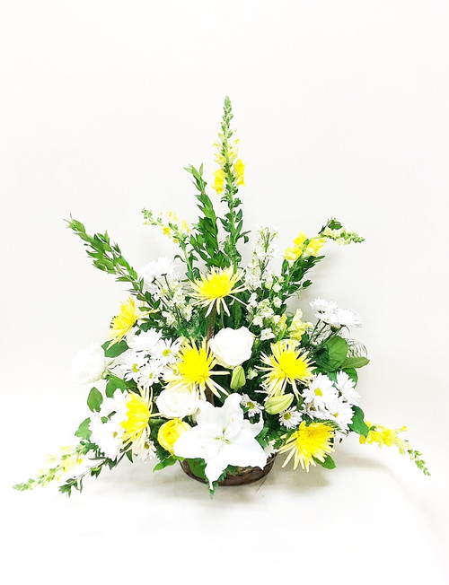 A bright tribute piece for  the perfect memorial filled with beautiful yellows whites and greens