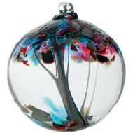 6 inch Kitras Glass Ball with Aqua and Fuscia decorative design.