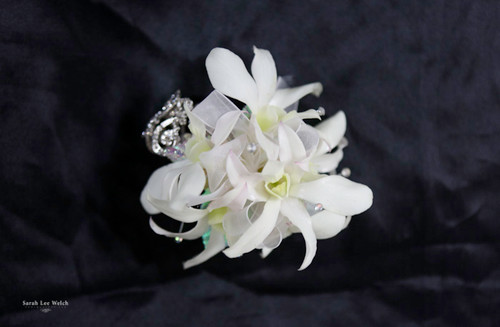 White orchid corsage silver and bling accent on keepsake bracelet image 1 mightylinksfo