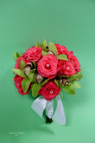 Melon Roses and Green Orchids Bridal Bouquet