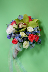 Blue, Pink and Green Bridesmaid Bouquet