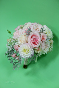 Pink and White Small Cascade Bridal Bouquet