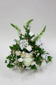 White Peace fresh flower sympathy arrangement made locally by Earle's Loveland