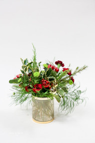 Gold and Red Fresh Flower Holiday Arrangement- Shop locally at Earle's Loveland Flowers and Gifts.