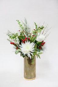 Gold Winter Fresh Flower Arrangement- Fresh Flower Holiday Arrangement- Shop locally at Earle's Loveland Flowers and Gifts.