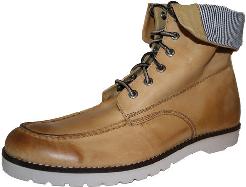 Wolverine W00207 Mens Moc-Toe Wedge Tan Boot w/Pin Stripe Fold Down