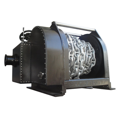 """InMac-Kolstrand Steel Flame-Sprayed - Double Reduction - 40 Inch Anchor Winch - Model AKPHDAW40D30W With Gypsy with 220 Feet 1-1/4"""" Cable Plus 100 Feet 1-1/4"""" Stud Link Chain spooled onto the Drum"""