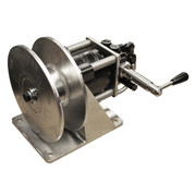InMac-Kolstrand Single Spool Stainless Steel 'DINGLEBAR' Rail-Mount Power Gurdy/Winch with Rotary Control Valve