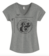 Women's Heather Gray Running On Essential Oils and Dry Shampoo Short Sleeve V-Neck T-Shirt