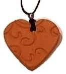Paisley Swirl Heart Terracotta Necklace